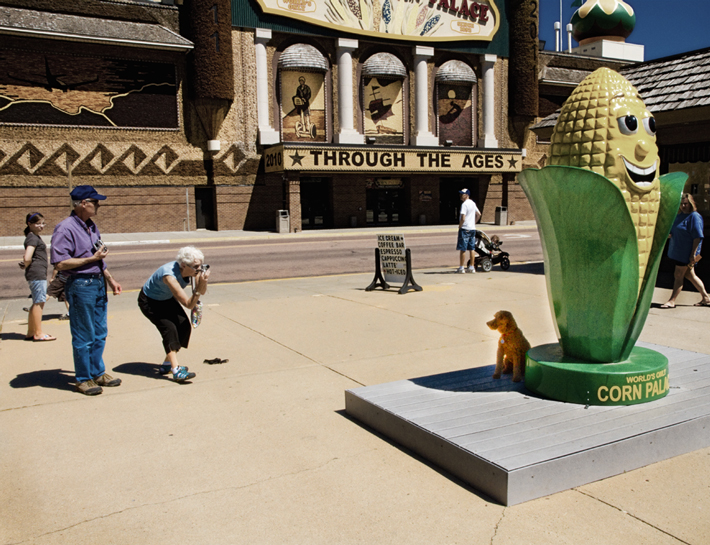 Dog posing for picture at Corn Palace, Mitchell, S.D.